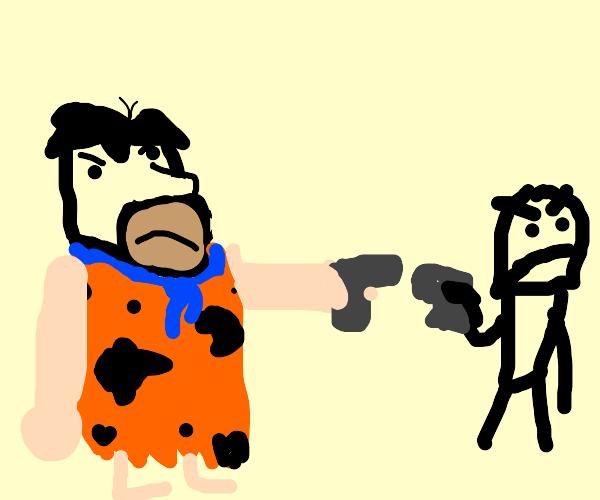 Fred Flintstone in a duel
