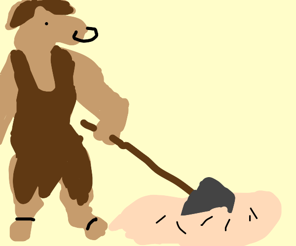 Minotaur digging into Quicksand