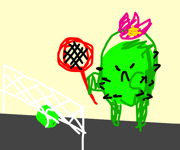 Angry cactus plays tennis