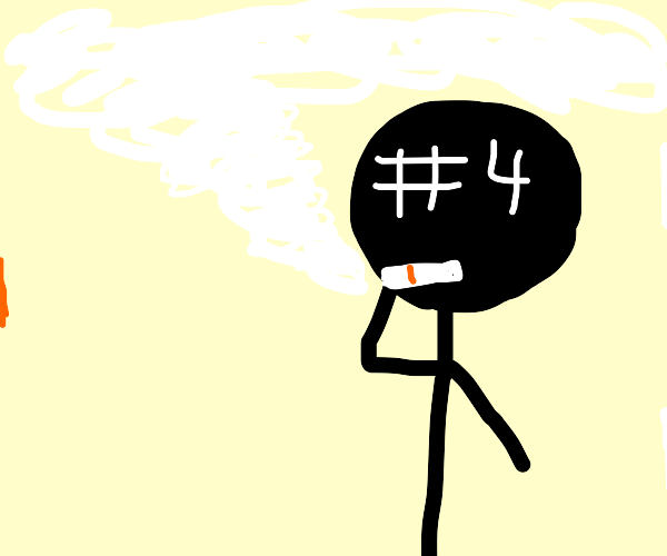 stickman #4 smokes a cigar