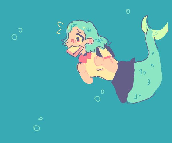 Cute little aquatic girl ready for school.
