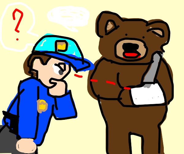A cop asks a bear about his right arm