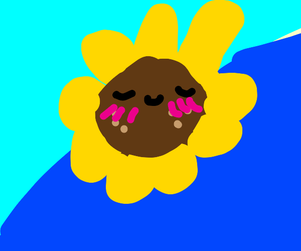 Sun flower, with anime cheek lines.