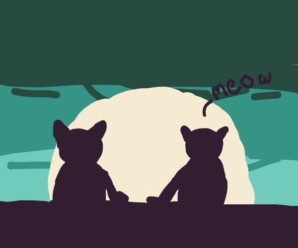 Two cats staring at a sunset over the city