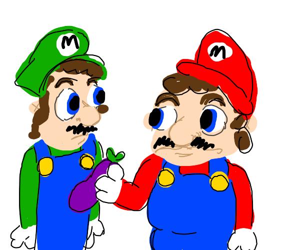 Mario feeds Luigi an eggplant