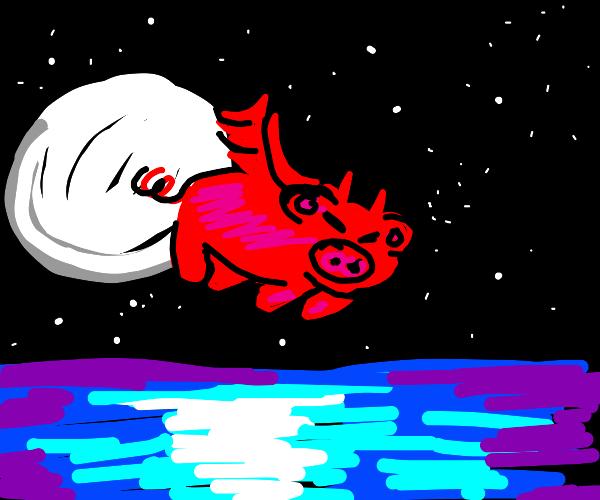 A fat demon pig flys over the ocean.