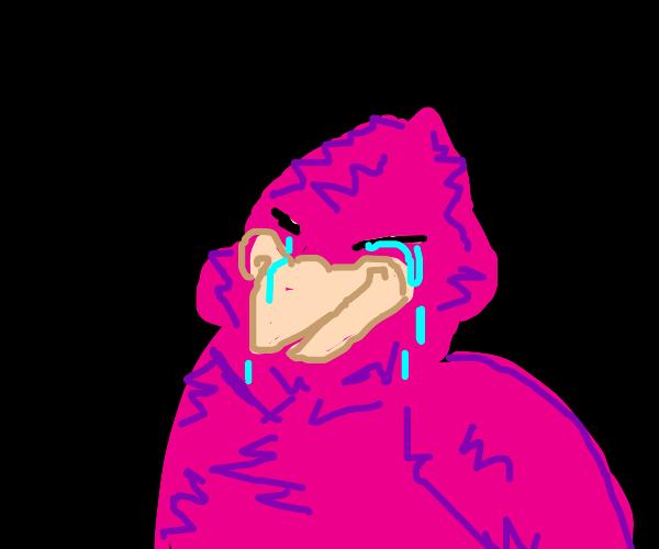 Crying pink birb
