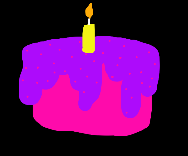 a large pink and purple cake
