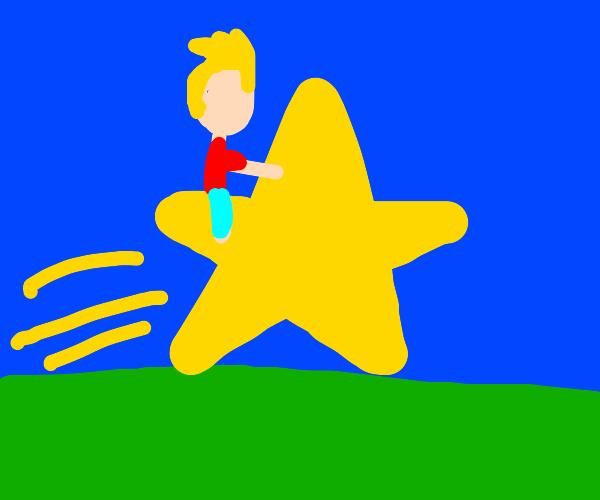 Man riding a star