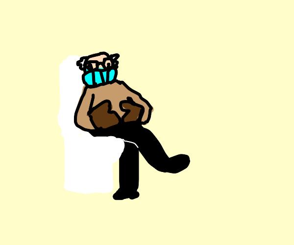Bernie sits on toilet.