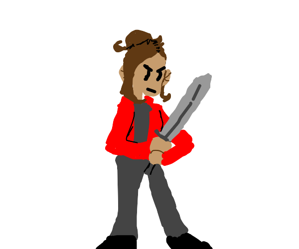 Girl angryly wielding a sword
