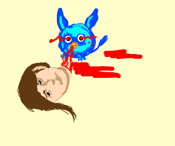 blue vampire furby feasts on human flesh