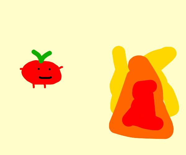 Tomato looking at fire