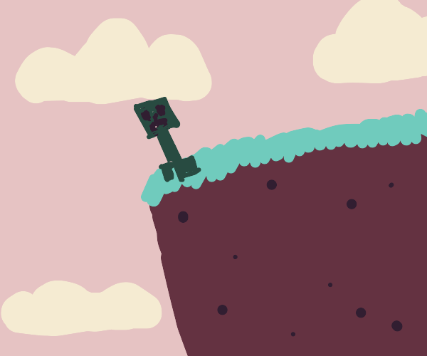 Chocolate creeper at the edge of a cliff