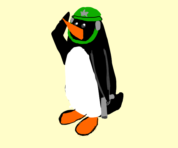 Penguin about to fight in the army