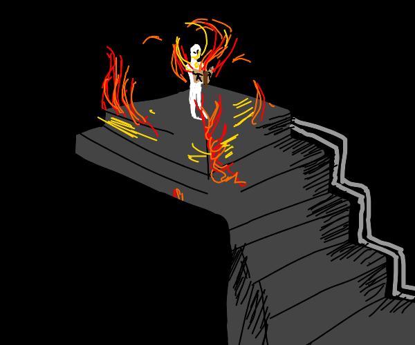 Man on top of stairs staring at menacing book