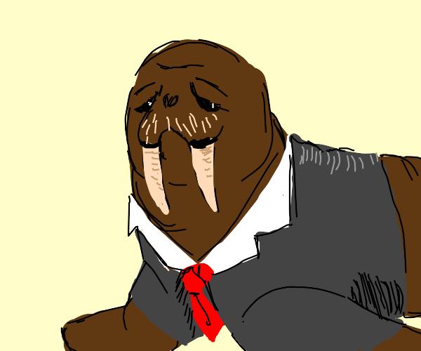 a walrus wearing a suit