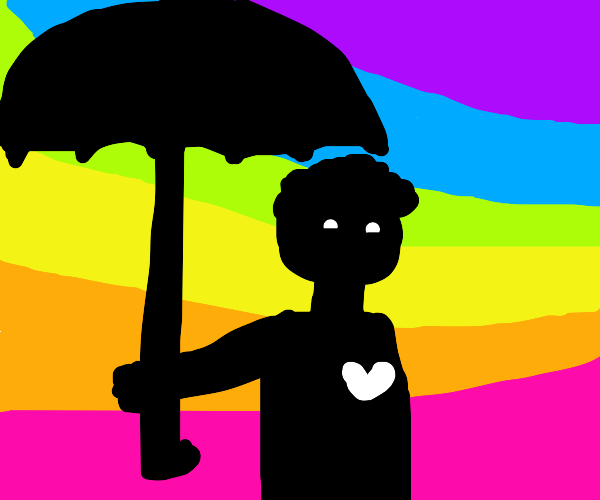 Silhouetted man with umbrella, rainbow back