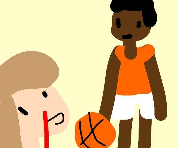 Girl having nosebleed over a guy with a ball