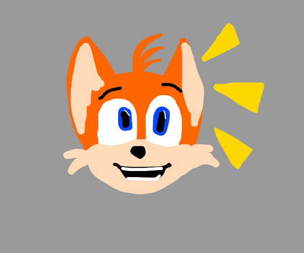 Tails ( Sonic ) is happy.