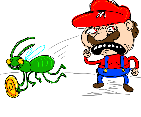 Bug steals a coin from mario.