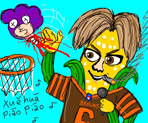 Corn man uses Mineta's head as basketball