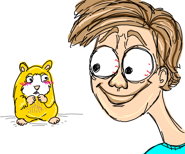A man looking a blushing hamster in the eyes
