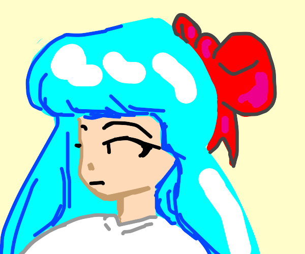 Blue hair anime girl