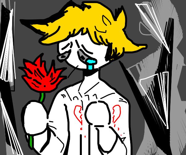 heartbroken man holds a rose