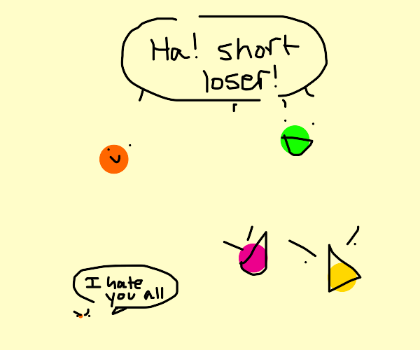 Tiny colored dot envies other dots' size.