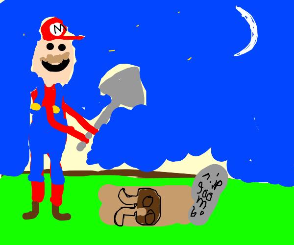 Mario Buries a Goomba