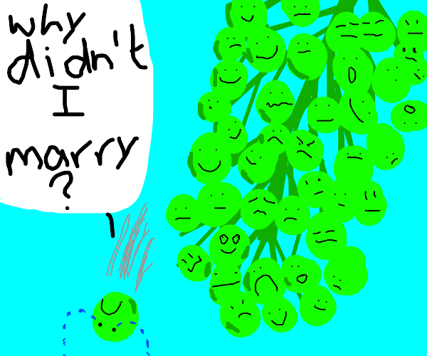 Drying grape laments about not having wife