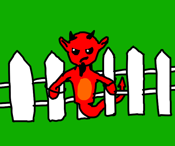 demon tied to fence post