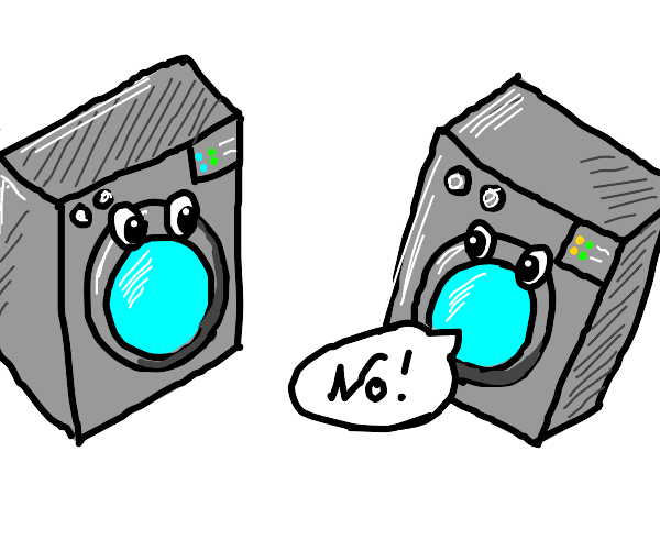 Two washing machines have a discussion