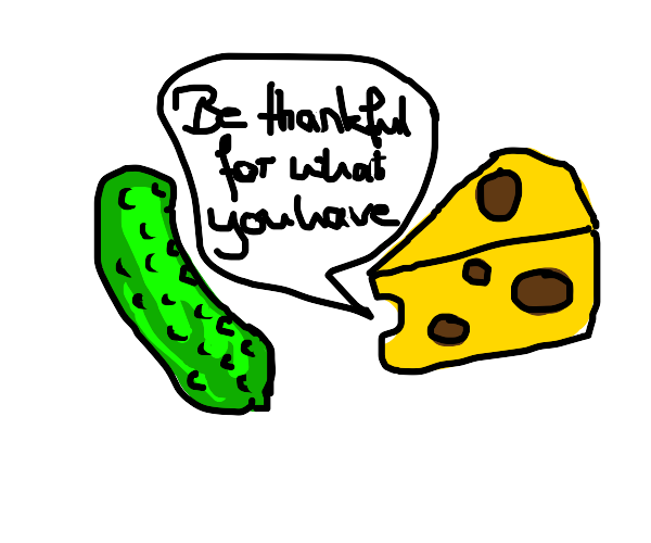 A piece of Cheese gives advice to a pickle.