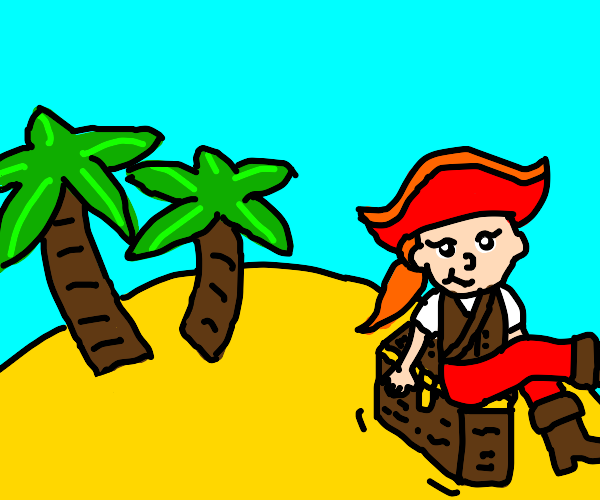 Pirate girl with a treasure in an island