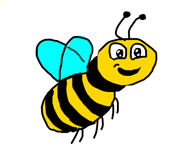Happy bee flying high in the sky