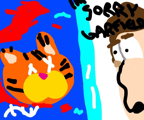 decapitated Garfield head underwater