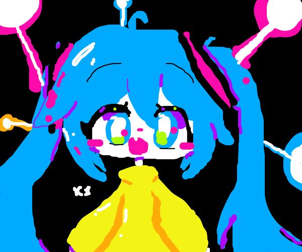 long-haired anime girl under neons lights