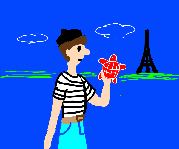 French man holding a red turtle