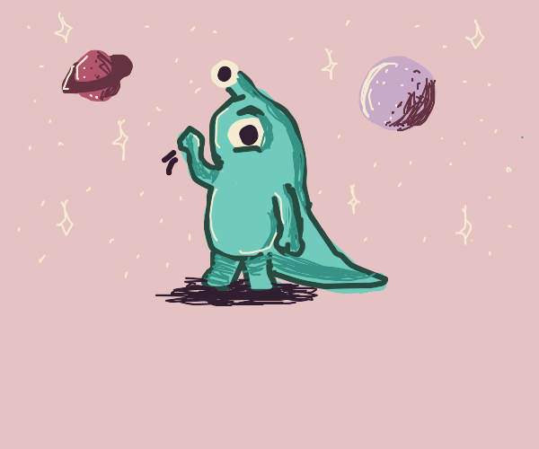 Alien bean monster with big tail