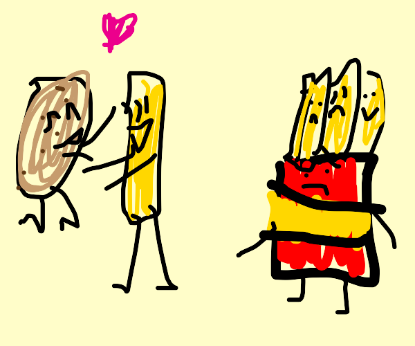 French fry leaves container to marry potato