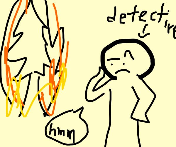 Detective inspects a burning xmas tree