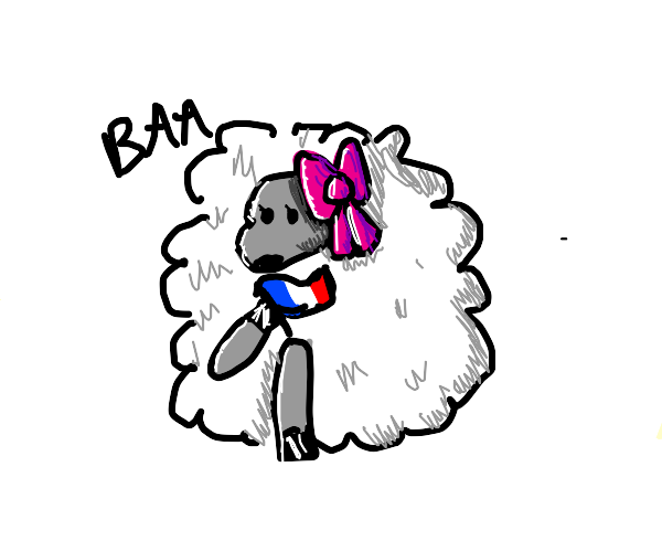 A sheep girl with a French flag says baa