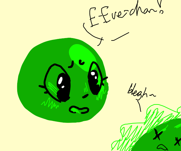 A green pea panicking because they pooped eve