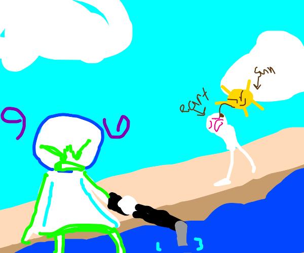 Angry man fishin while the sun's hitting eart