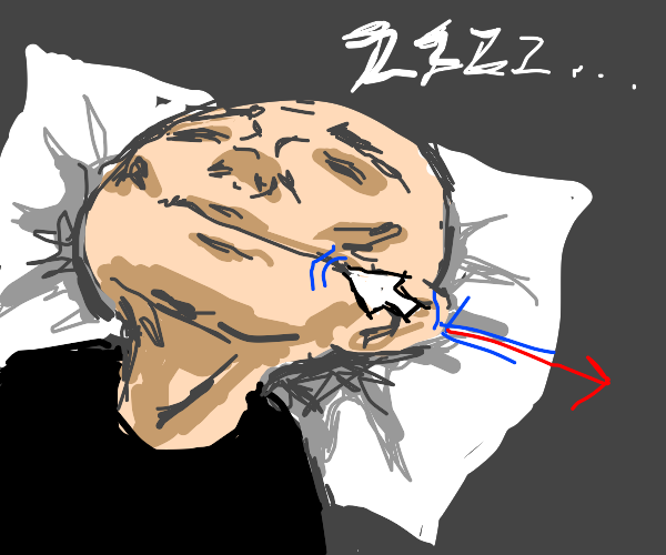 mouse cursor drags guys mouth while he sleeps