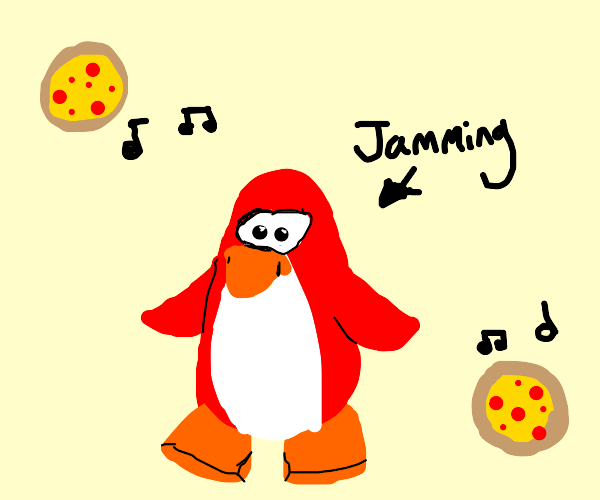 Red penguin jams to pizza-themed Music