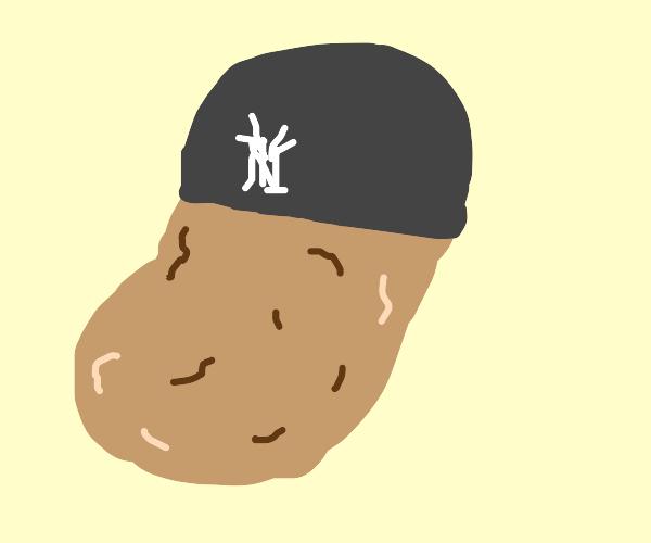 Potato wearing NY Yankees cap