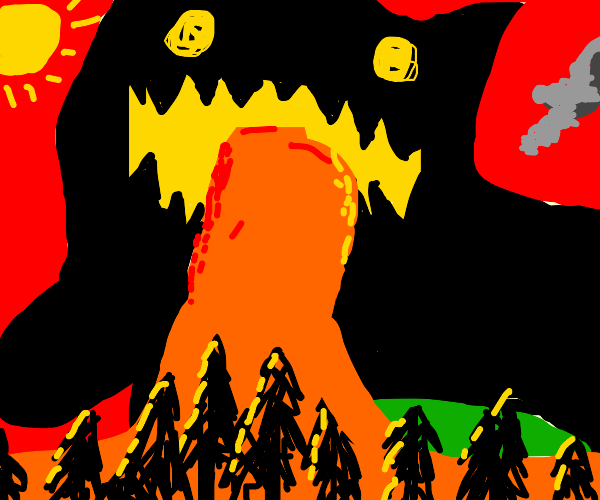 Huge dog vomits lava on a forest in the day
